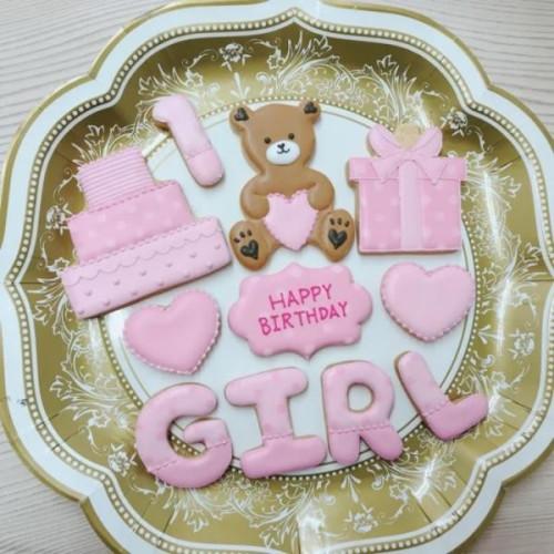数字・アルファベット1文字つきアイシングクッキーセット(女の子用くまさん)