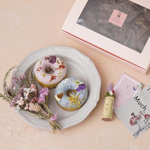 【贈り物に最適!】gmgmのお花の焼きドーナツ スワッグギフトBox Mini 【ドライフラワーの花束とのセット】