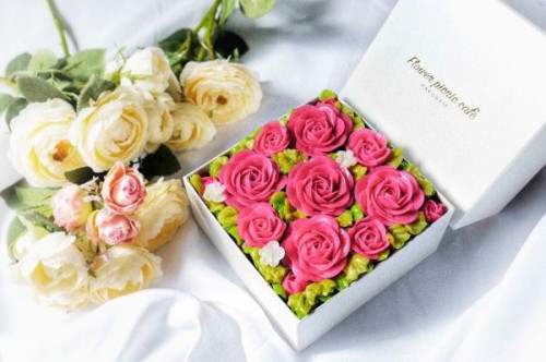 『食べられるお花のケーキ』【Elegant Pink】Anniversaryボックスフラワーケーキ