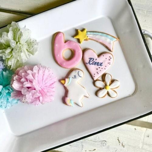 ケーキの飾りにも☆ユニコーンお名前入りクッキーセット