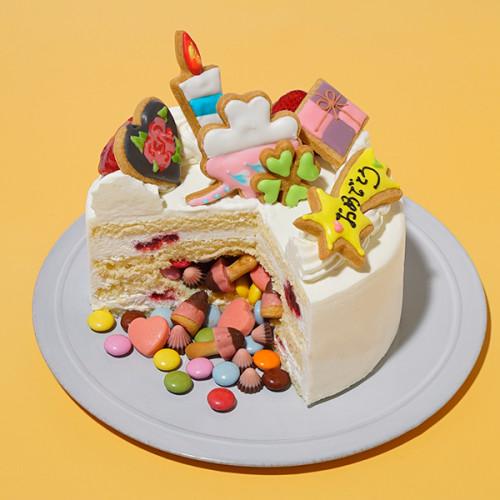 2度楽しめる!サプライズギミックケーキ 4号 12cm <br>選べるアイシングクッキー