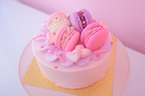 パープルピンクのマカロンケーキ【4個のせ】
