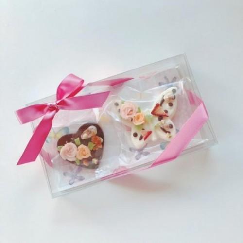 チョコレートフラワー蝶々とハートのタブレットセット2個入り ホワイトデー2021