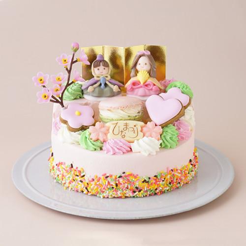 ひなまつり2021ピンク2段ケーキ(好評につき完売のためお人形が変わります)