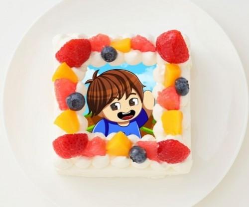 【かーぼん】四角型写真ケーキ 4号 12cm