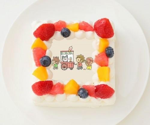 【ぽこにゃん】四角型写真ケーキ 4号 12cm