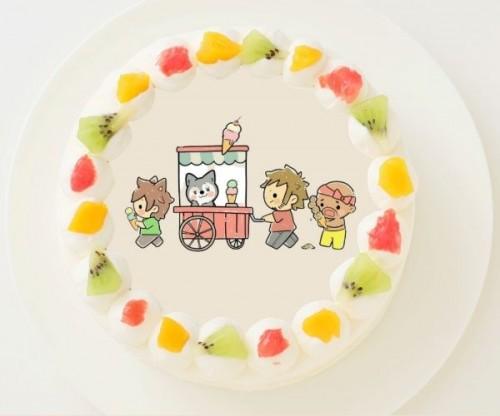 【ぽこにゃん】丸型写真ケーキ 3号 9cm