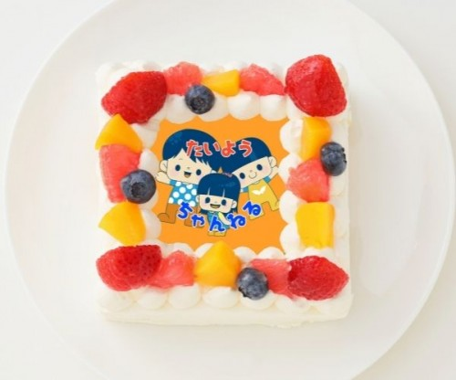 【太陽チャンネル】四角型写真ケーキ 4号 12cm