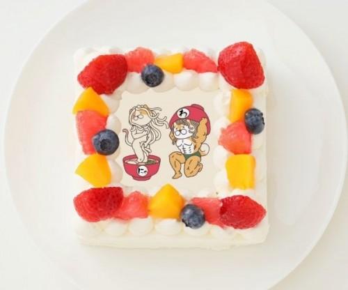 【わんこそば】四角型写真ケーキ 4号 12cm