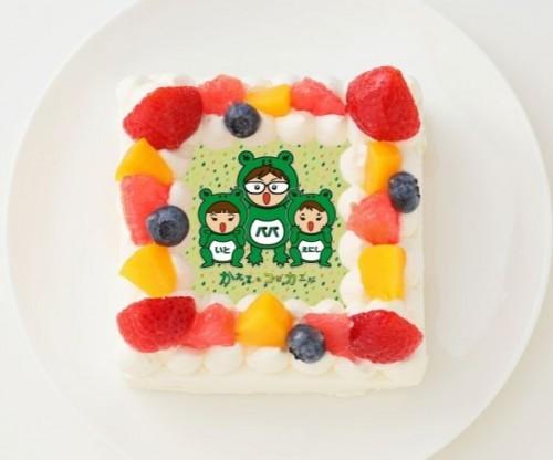 【かえるのコはカエルCH】四角型写真ケーキ 4号 12cm