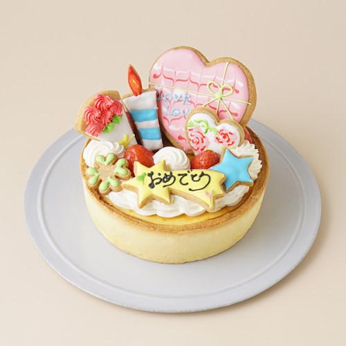 あなただけの選べるアイシングクッキーケーキ<br>濃厚ベイクドチーズケーキ 5号<br>選んで楽しい!! <br>*アイシングデコ当日配送商品始まりました!<br>ギフトに最適