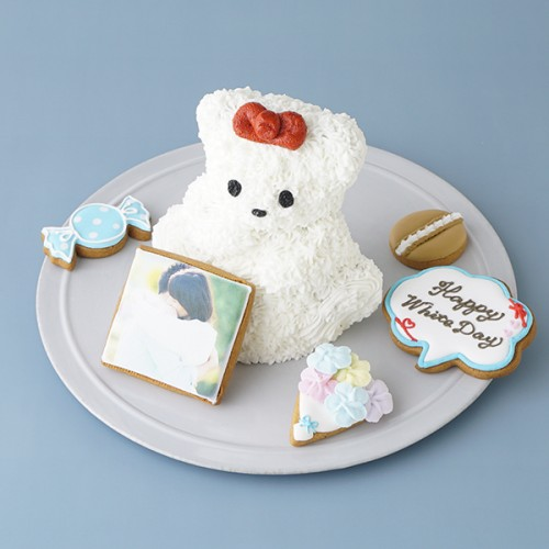 真っ白テディとお菓子の森~プリントクッキーを添えて♪~   ホワイトデー2021