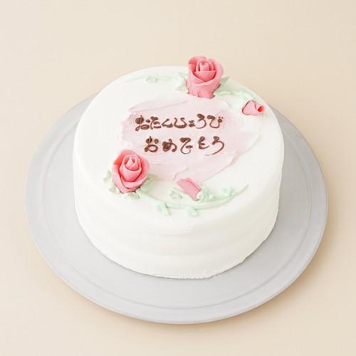 センイルケーキ(ピンクのバラ付き) 5号
