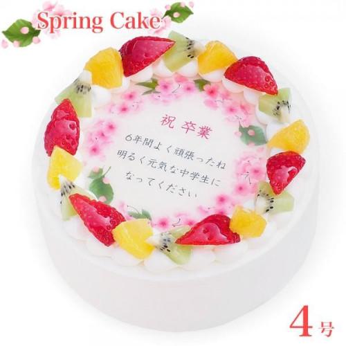 春のお祝いケーキ 4号 cream-4-spring