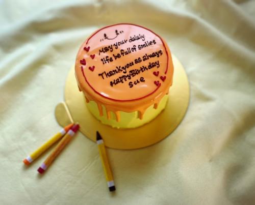 カラーが選べる!ドリップレタリングケーキ(ハート)4号