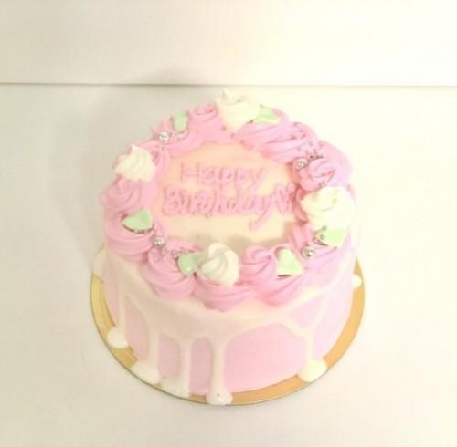 センイルケーキ(韓国ケーキ) お花×ドリップ×ピンク 4号