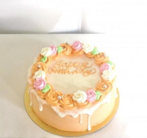 センイルケーキ(韓国ケーキ) お花×ドリップ×オレンジ 4号