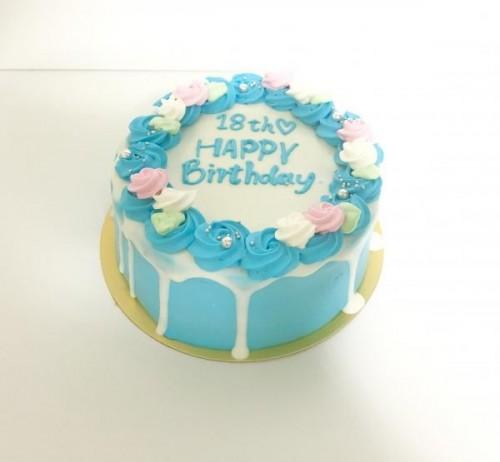 センイルケーキ(韓国ケーキ) お花×ドリップ×青(ブルー) 4号