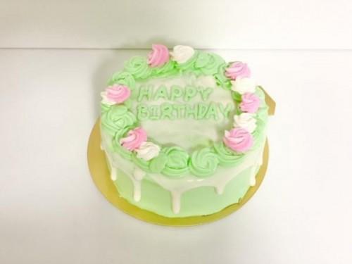 センイルケーキ(韓国ケーキ) お花×ドリップ×緑(グリーン) 4号