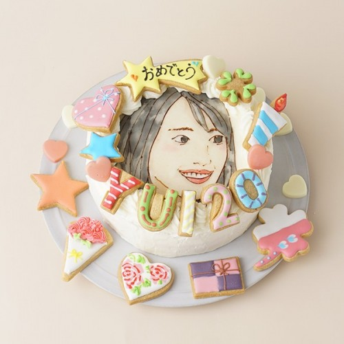 似顔絵ケーキ アイシングクッキーケーキ 純生クリーム イラストケーキ 4号 ギフトに最適