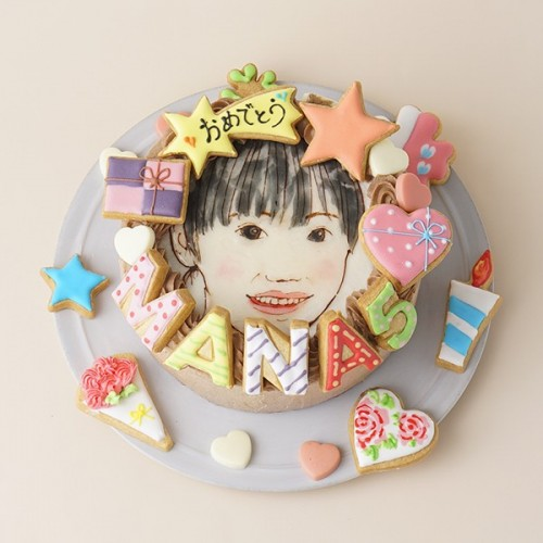 似顔絵ケーキ アイシングクッキーケーキ 生チョコクリーム イラストケーキ 4号 ギフトに最適