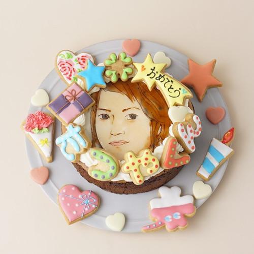 似顔絵ケーキ アイシングクッキーケーキ とろけるクラシックショコラ イラストケーキ 5号 ギフトに最適