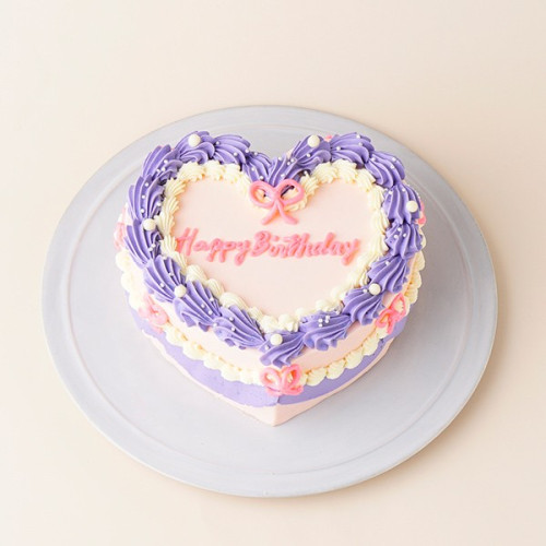 ハートの韓国風ヴィンテージケーキ 4号(12cm)【センイルケーキ】