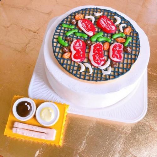 メッセージ可!焼肉七輪アイシングクッキーケーキ