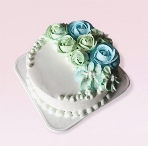 フラワー生デコレーションケーキ 5号 15cm(ブルー・グリーン・ホワイト)