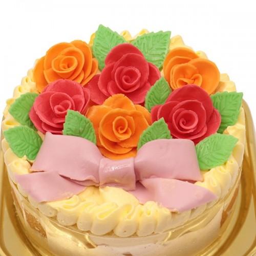 【沖縄マンゴースイーツ専門店】沖縄産マンゴーとチョコレート細工のケーキ<br>マンゴーのローズガーデン 4号