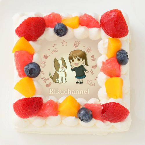 【りくChannel】四角型写真ケーキ 4号 12cm