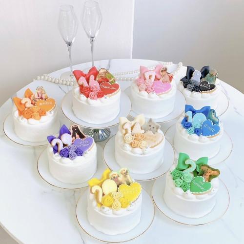 選べる8色♪セミオーダー♡写真ケーキ(プリントケーキ)リボン付 4号 12cm