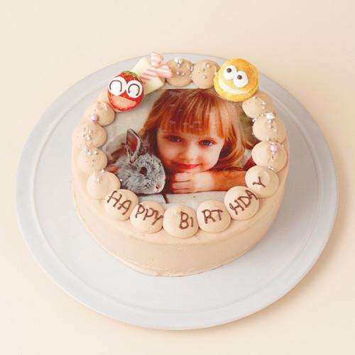 お祝いのケーキに写真を添えて(^O^)/ フォト 写真 チョコレートケーキ 4号