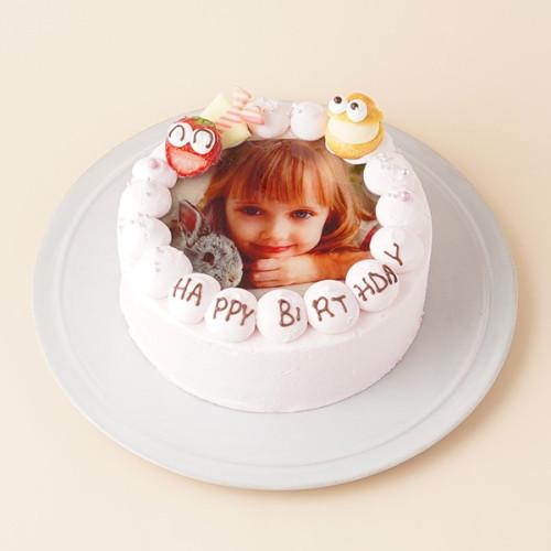 お祝いのケーキに写真を添えて(^O^)/ フォト 写真 苺クリームケーキ 4号