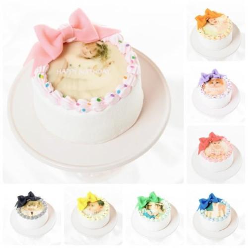リボン付写真ケーキ(プリントケーキ)♡選べる8色♪ 4号