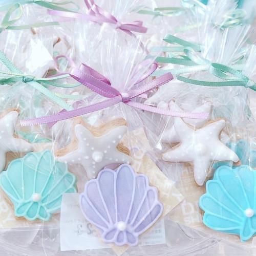 ミニシェル&ヒトデのアイシングクッキー【ウエディングプチギフト】 1袋2個入り 10袋セット