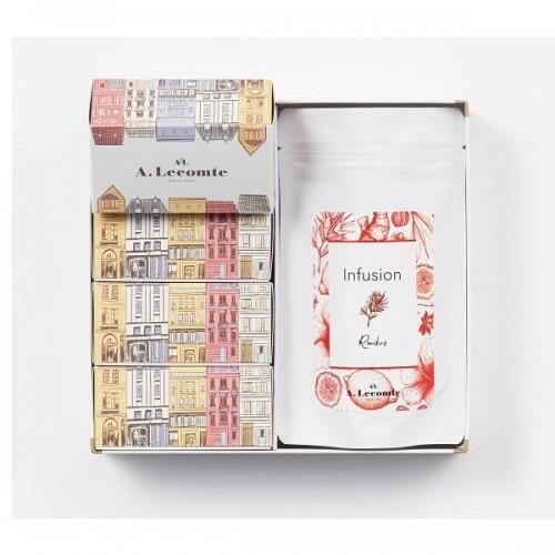 【フランス菓子の名店・ルコント】ケークキューブ・ハーブティー詰合せ A