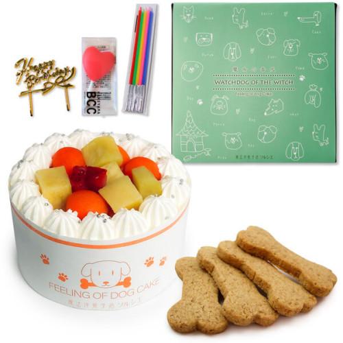 犬用 バースデーケーキ クリームデコレーション 3号サイズ (260g)【 中型犬~大型犬 用 】