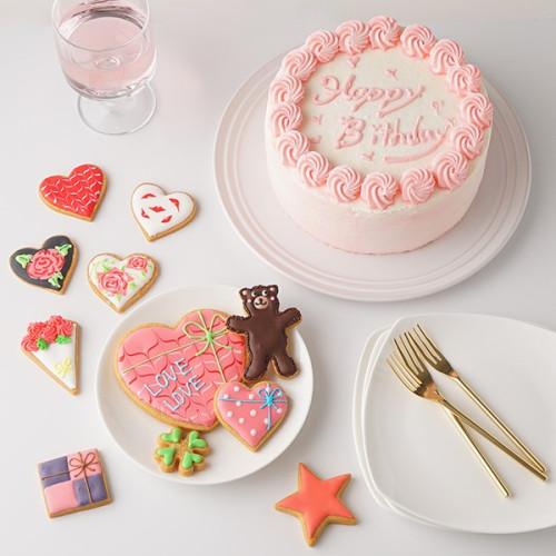 センイルケーキ 選んで楽しい アイシングクッキー 生クリーム絞り飾り 赤 6号