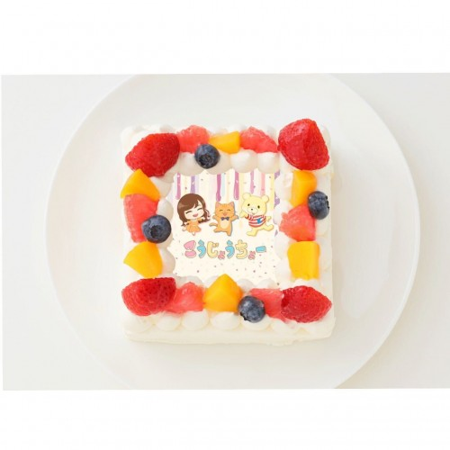【こうじょうちょー】四角型写真ケーキ 4号 12cm