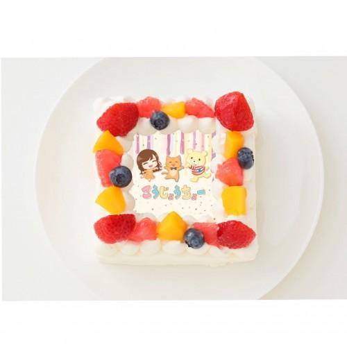 【こうじょうちょー】四角型写真ケーキ 6号 18cm