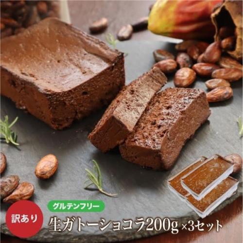 【グルテンフリー】 訳ありガトーショコラ「アウトレット」3本セット 600g チョコレートな関係