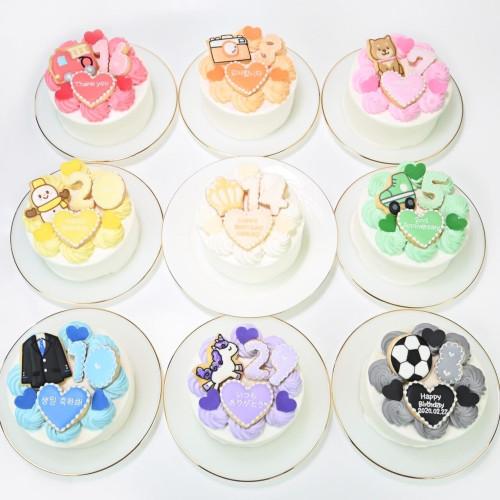 お好きなキャラやイラストの手書きクッキー付♪セミオーダーハートケーキ(選べる8色♪)イラスト,写真,キャラクターケーキ♪ 4号