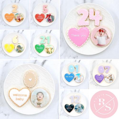プリントクッキーセット♡数字&プレート付き(選べる8色♪)イラスト,写真,キャラクター、ケーキにのせるだけでオリジナルケーキの完成♪