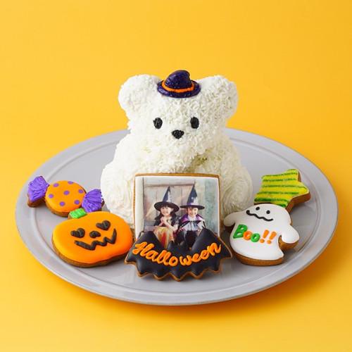 ☆大人気☆ハロウィン限定!真っ白テディとお菓子の森~プリントクッキーを添えて♪~【ハロウィン2021】