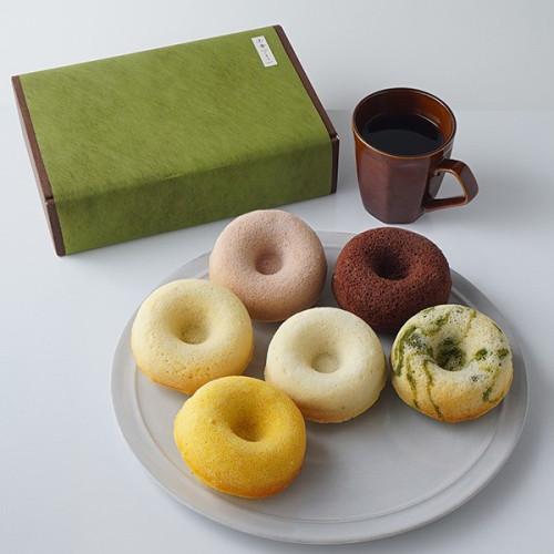ドーナツセット① プレーン、苺、抹茶マーブル、かぼちゃ、チョコレート、酒粕チーズを各1個ずつ入れたセット