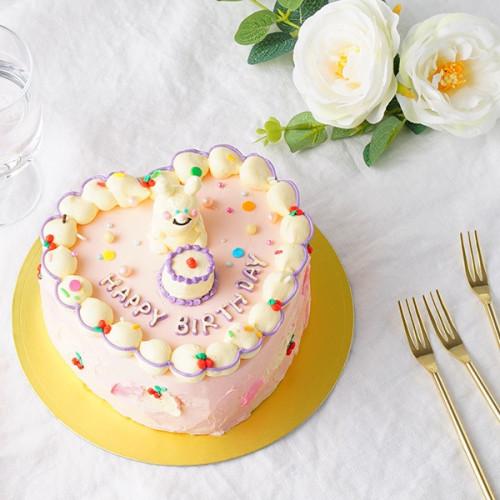 立体うさぎのハート型センイルケーキ 5号
