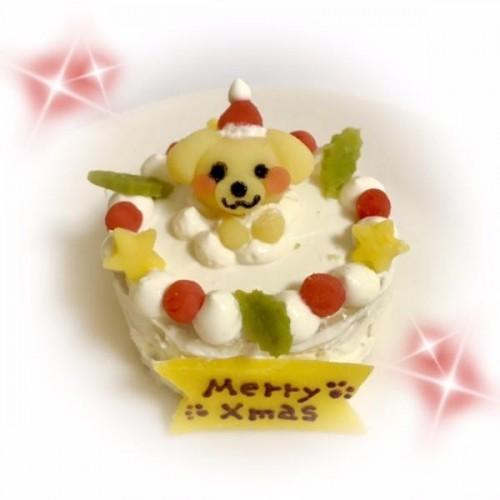 <数量限定>白茶わんこサンタの米粉ケーキ 6cm【名入れ対応♪】【クリスマス2021】