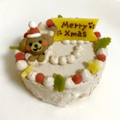 <数量限定>白茶わんこサンタの米粉ケーキ 8cm【名入れ対応♪】【クリスマス2021】
