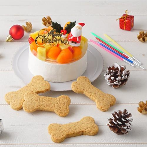 犬用 クリスマスケーキ クリームデコレーション 3号サイズ (260g)【 中型犬~大型犬 用 】【クリスマス2021】